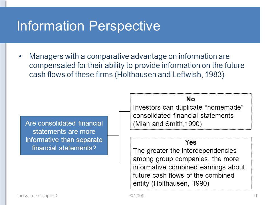 Information Perspective Managers with a comparative advantage on information are compensated for their ability to provide information on the future cash flows of these firms (Holthausen and Leftwish, 1983) Tan & Lee Chapter 211© 2009 Are consolidated financial statements are more informative than separate financial statements.