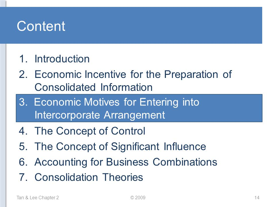 Content Tan & Lee Chapter 2© 200914 1.Introduction 2.Economic Incentive for the Preparation of Consolidated Information 3.Economic Motives for Entering into Intercorporate Arrangement 4.The Concept of Control 5.The Concept of Significant Influence 6.Accounting for Business Combinations 7.Consolidation Theories 3.