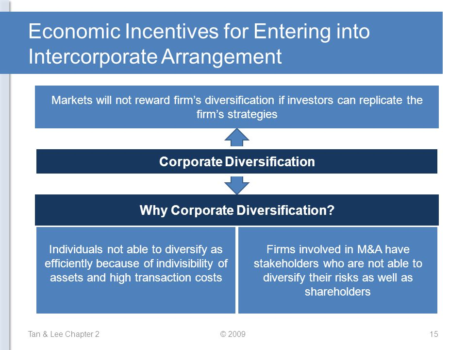 Economic Incentives for Entering into Intercorporate Arrangement Tan & Lee Chapter 215© 2009 Individuals not able to diversify as efficiently because of indivisibility of assets and high transaction costs Firms involved in M&A have stakeholders who are not able to diversify their risks as well as shareholders Why Corporate Diversification.