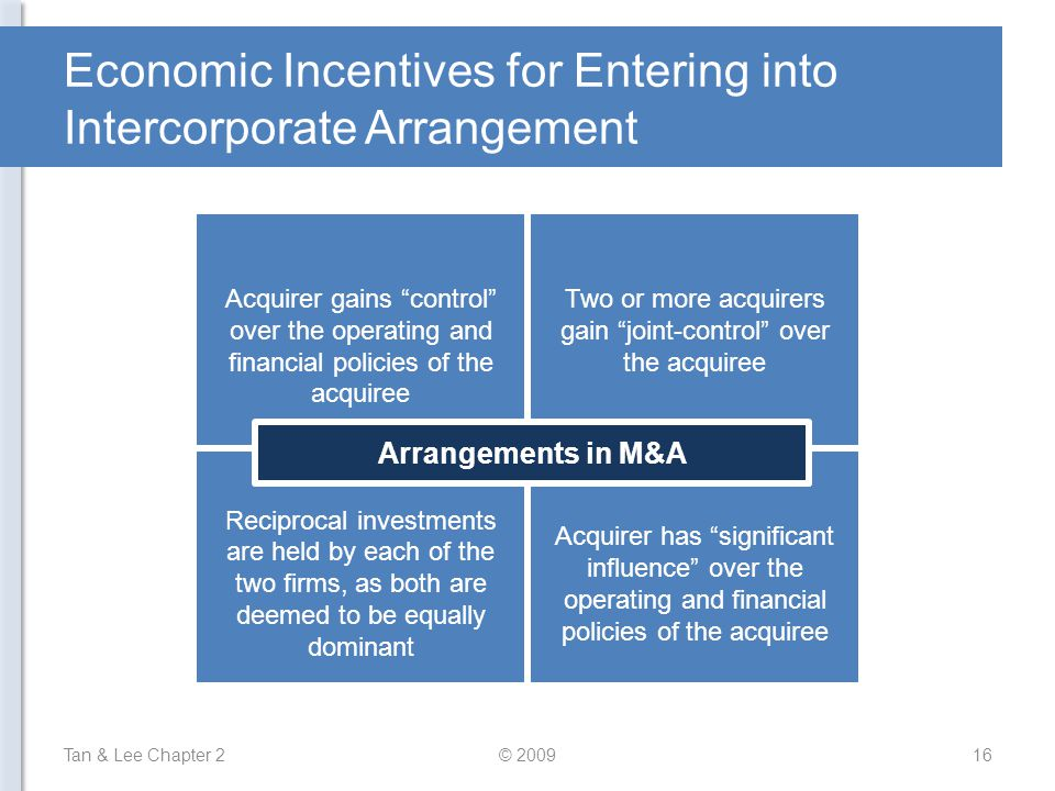 Economic Incentives for Entering into Intercorporate Arrangement Tan & Lee Chapter 216© 2009 Acquirer gains control over the operating and financial policies of the acquiree Two or more acquirers gain joint-control over the acquiree Reciprocal investments are held by each of the two firms, as both are deemed to be equally dominant Acquirer has significant influence over the operating and financial policies of the acquiree Arrangements in M&A