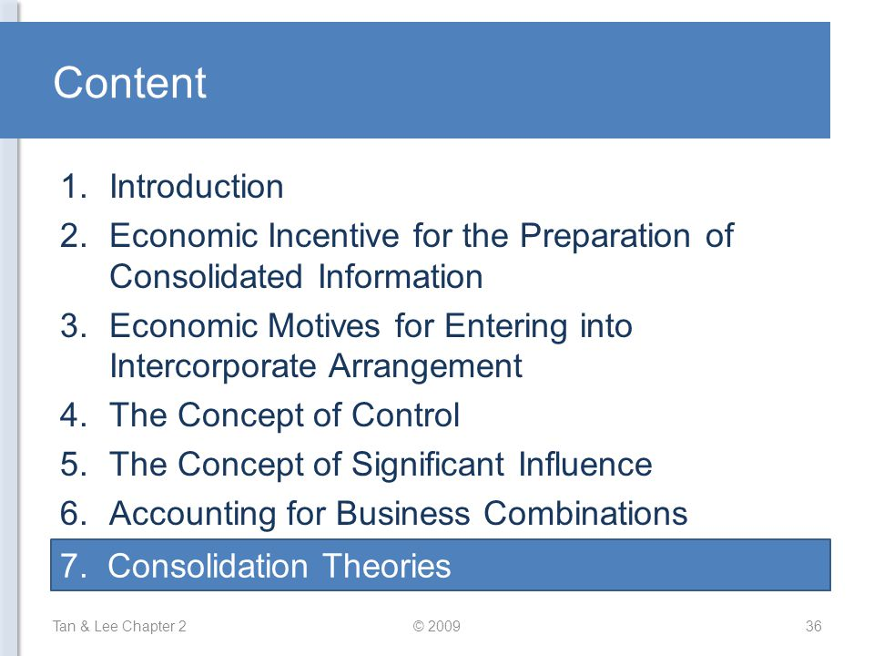 Content Tan & Lee Chapter 2© 200936 1.Introduction 2.Economic Incentive for the Preparation of Consolidated Information 3.Economic Motives for Enterin