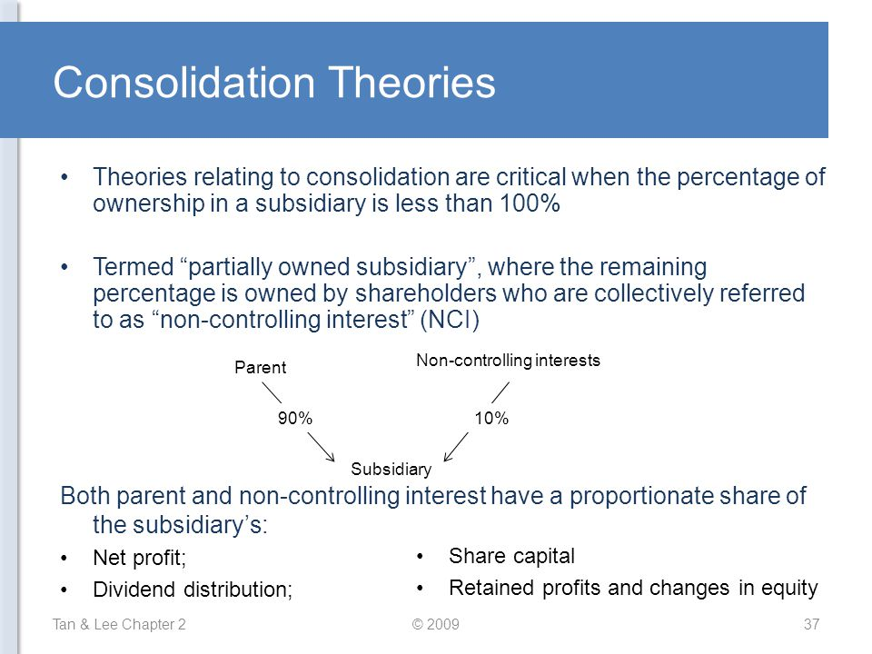 """Consolidation Theories Theories relating to consolidation are critical when the percentage of ownership in a subsidiary is less than 100% Termed """"part"""