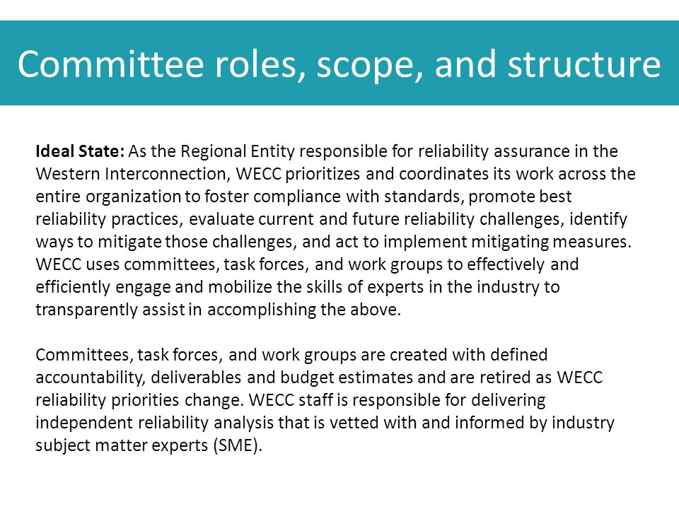 Committee roles, scope, and structure Ideal State: As the Regional Entity responsible for reliability assurance in the Western Interconnection, WECC prioritizes and coordinates its work across the entire organization to foster compliance with standards, promote best reliability practices, evaluate current and future reliability challenges, identify ways to mitigate those challenges, and act to implement mitigating measures.