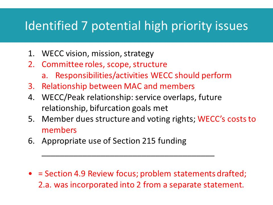 Identified 7 potential high priority issues 1.WECC vision, mission, strategy 2.Committee roles, scope, structure a.Responsibilities/activities WECC should perform 3.Relationship between MAC and members 4.WECC/Peak relationship: service overlaps, future relationship, bifurcation goals met 5.Member dues structure and voting rights; WECC's costs to members 6.Appropriate use of Section 215 funding ______________________________________ = Section 4.9 Review focus; problem statements drafted; 2.a.