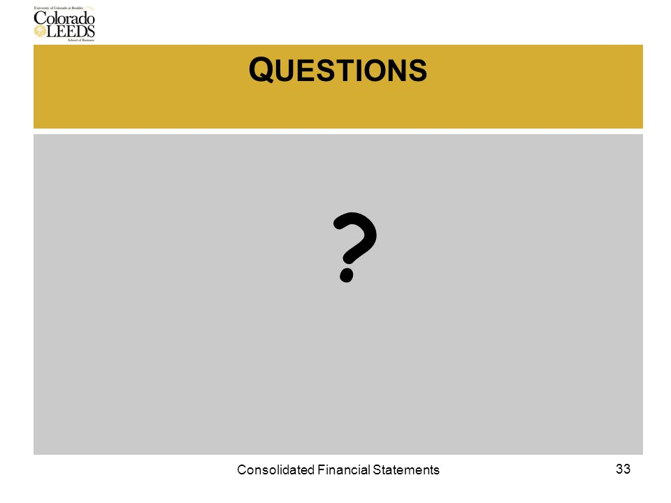 Q UESTIONS 33 Consolidated Financial Statements
