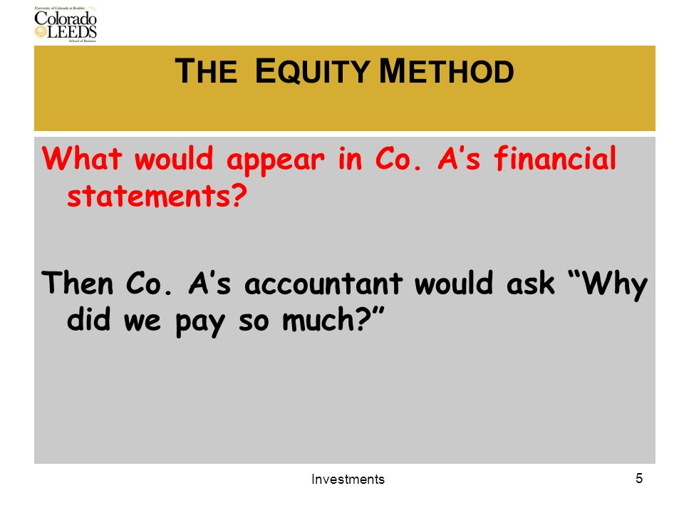 T HE E QUITY M ETHOD What would appear in Co. A's financial statements.