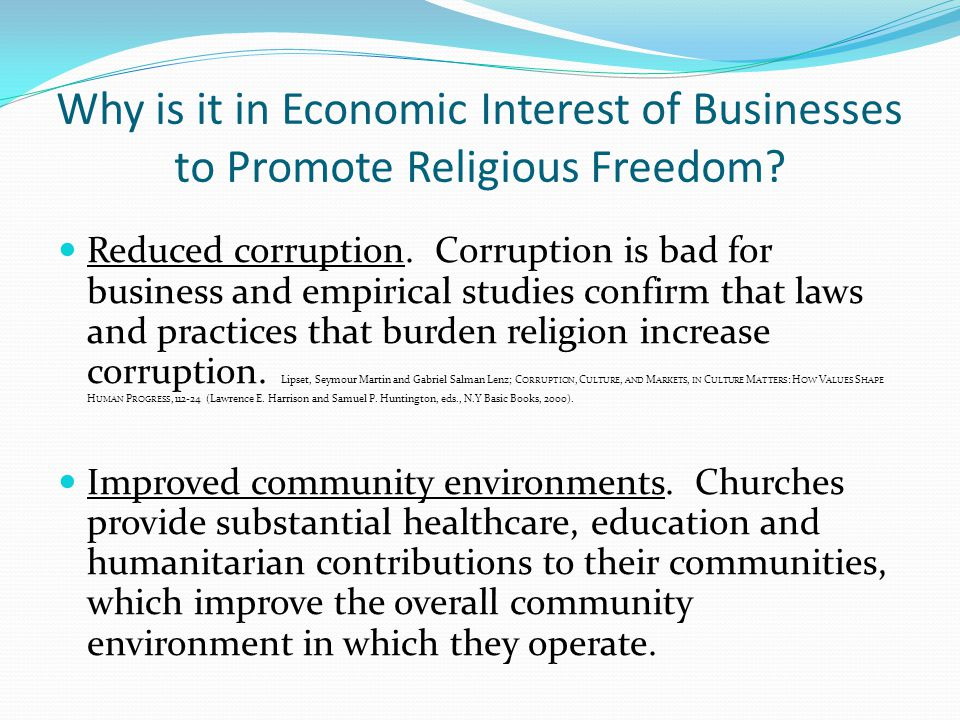 Why is it in Economic Interest of Businesses to Promote Religious Freedom.
