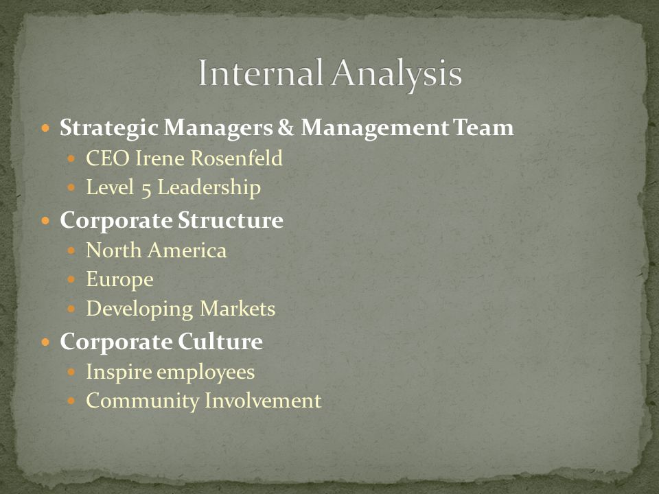 Strategic Managers & Management Team CEO Irene Rosenfeld Level 5 Leadership Corporate Structure North America Europe Developing Markets Corporate Culture Inspire employees Community Involvement