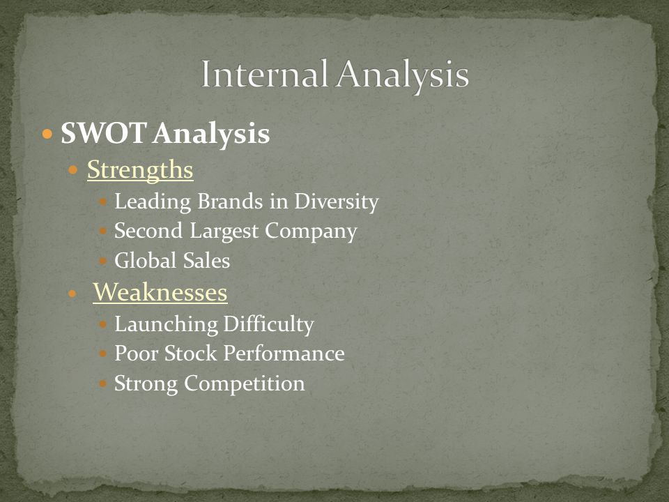 SWOT Analysis Strengths Leading Brands in Diversity Second Largest Company Global Sales Weaknesses Launching Difficulty Poor Stock Performance Strong Competition