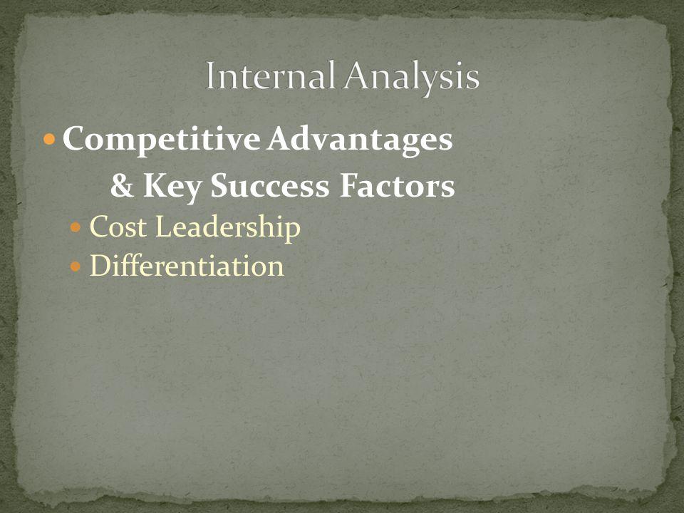 Competitive Advantages & Key Success Factors Cost Leadership Differentiation