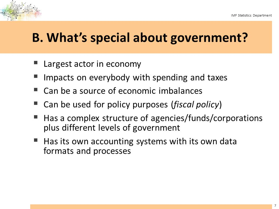 IMF Statistics Department What's in general government.
