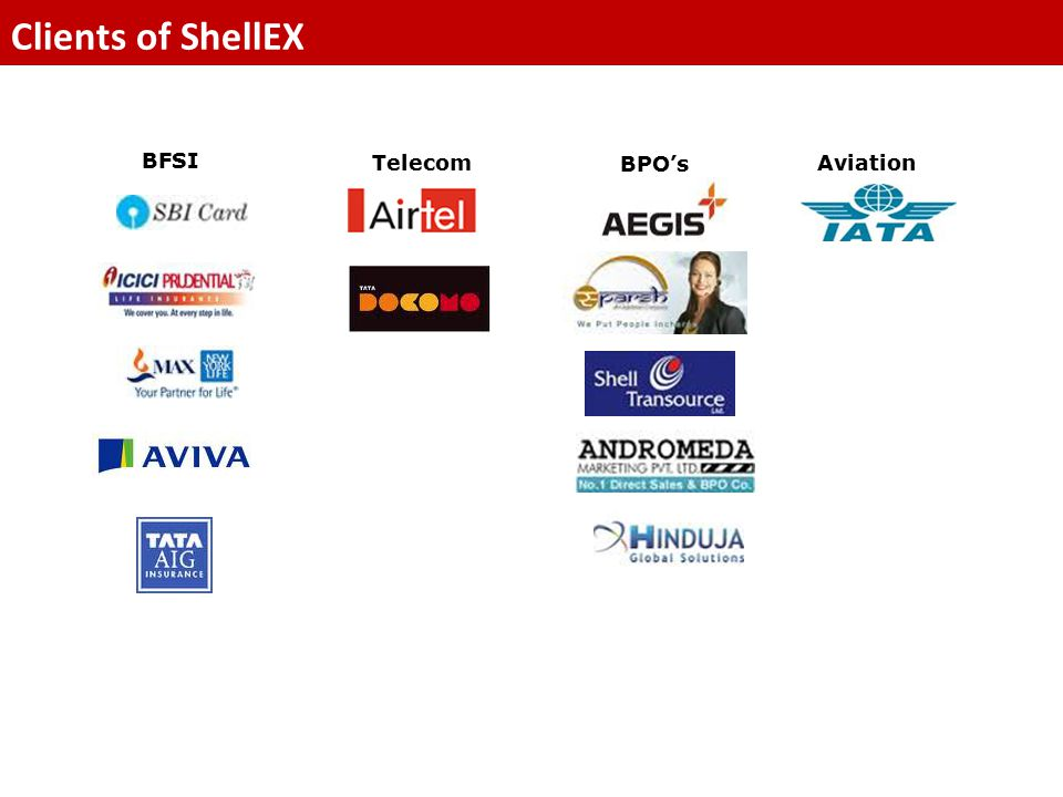 Clients of ShellEX BFSI Telecom BPO's Aviation
