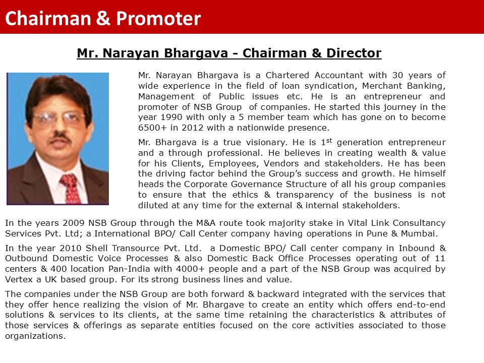 Mr. Narayan Bhargava - Chairman & Director Chairman & Promoter Mr.