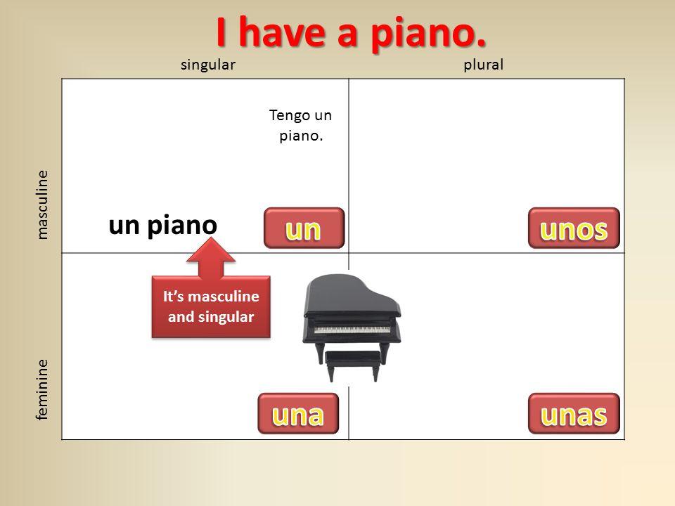 singularplural masculine feminine I have a piano. I have a piano.