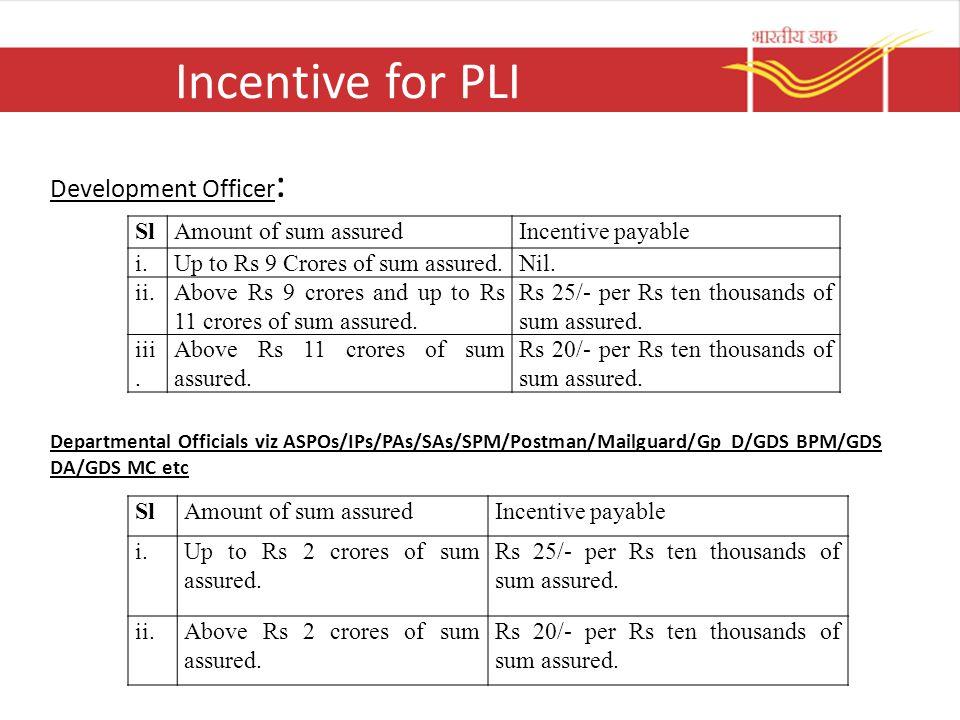 Incentive for PLI Development Officer : Departmental Officials viz ASPOs/IPs/PAs/SAs/SPM/Postman/Mailguard/Gp D/GDS BPM/GDS DA/GDS MC etc SlAmount of