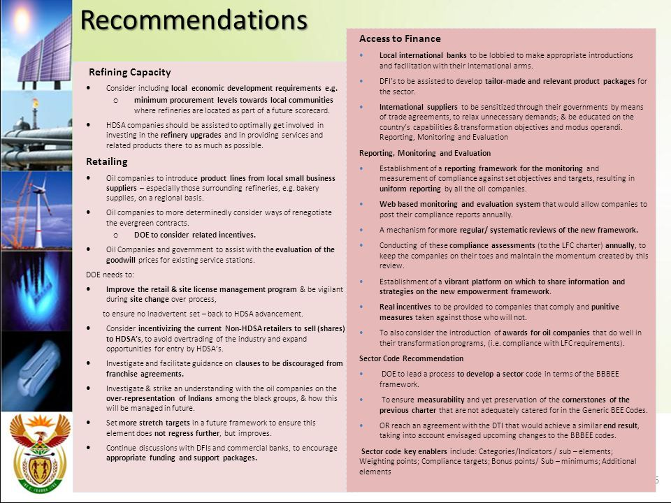 Recommendations Refining Capacity Consider including local economic development requirements e.g.