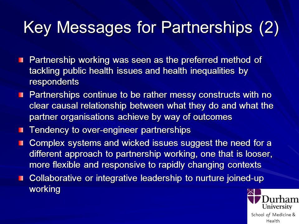 School of Medicine & Health What Determines a Successful Partnership.