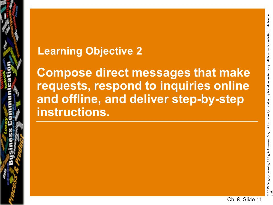 Learning Objective 2 © 2015 Cengage Learning. All Rights Reserved. May not be scanned, copied or duplicated, or posted to a publicly accessible websit