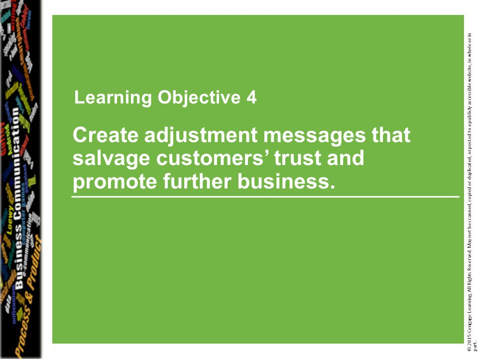 Learning Objective 3 © 2014 Cengage Learning. All Rights Reserved. May not be scanned, copied or duplicated, or posted to a publicly accessible websit