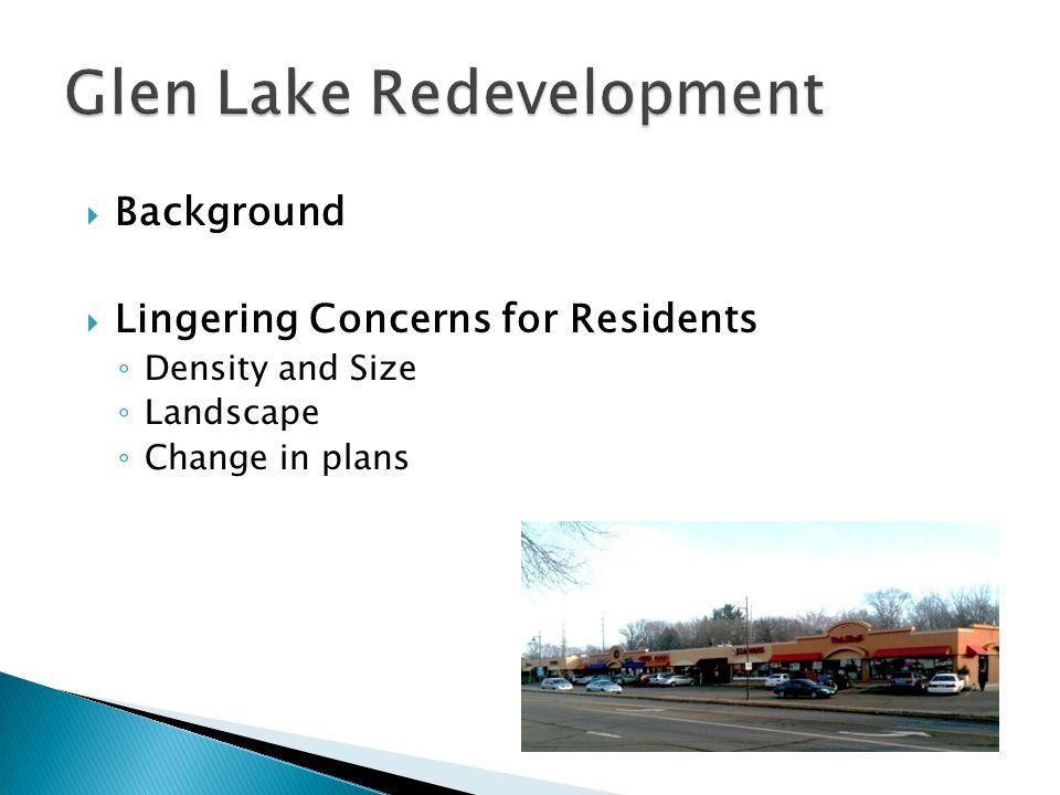  Background  Lingering Concerns for Residents ◦ Density and Size ◦ Landscape ◦ Change in plans