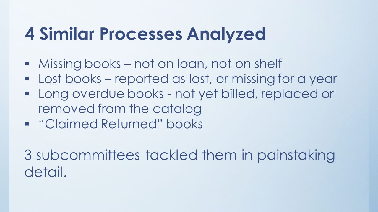 4 Similar Processes Analyzed  Missing books – not on loan, not on shelf  Lost books – reported as lost, or missing for a year  Long overdue books - not yet billed, replaced or removed from the catalog  Claimed Returned books 3 subcommittees tackled them in painstaking detail.