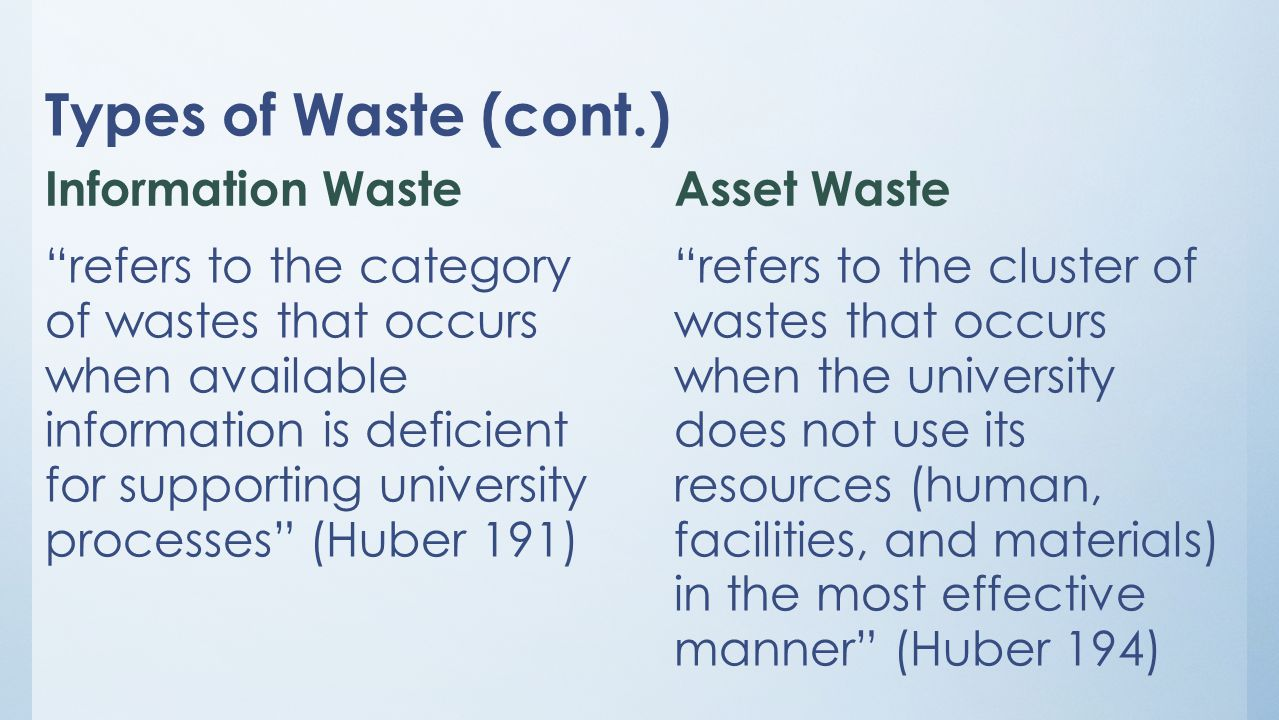 Types of Waste (cont.) Information Waste refers to the category of wastes that occurs when available information is deficient for supporting university processes (Huber 191) Asset Waste refers to the cluster of wastes that occurs when the university does not use its resources (human, facilities, and materials) in the most effective manner (Huber 194)