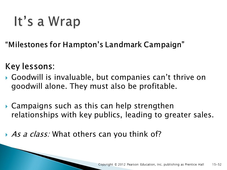 Milestones for Hampton's Landmark Campaign Key lessons:  Goodwill is invaluable, but companies can't thrive on goodwill alone.