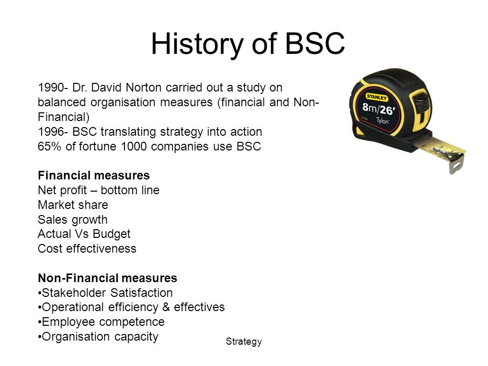History of BSC Strategy 1990- Dr.