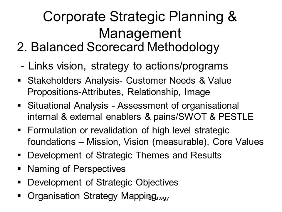 Corporate Strategic Planning & Management 2.
