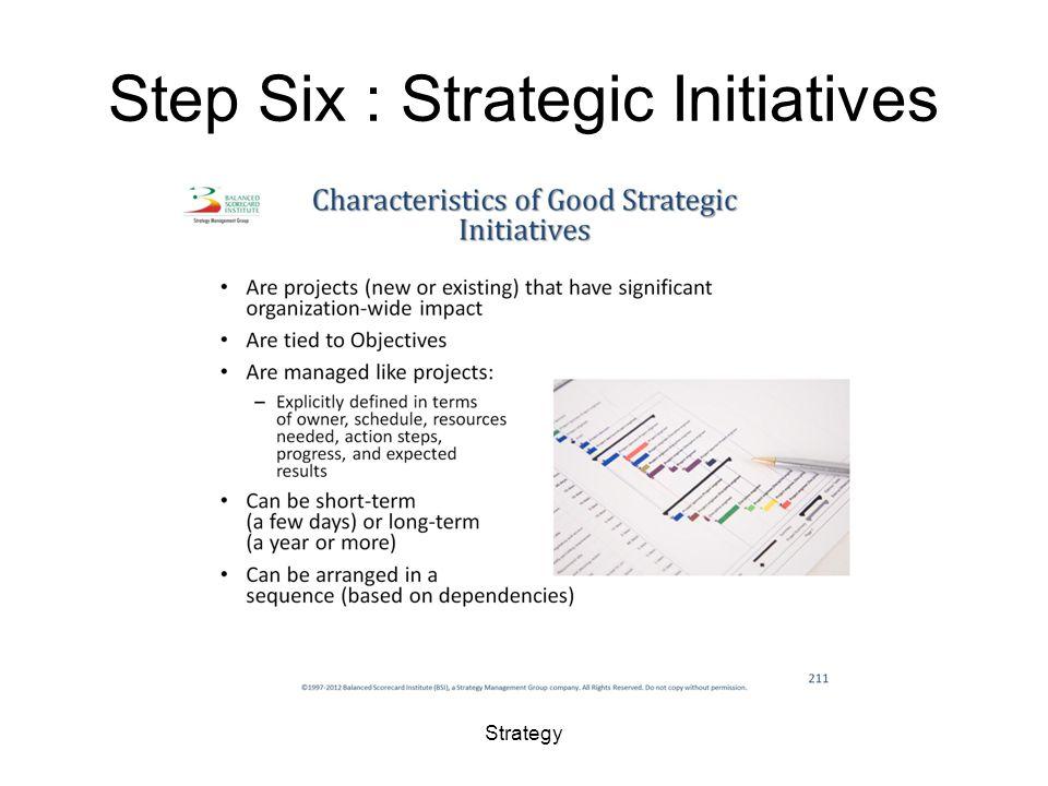 Step Six : Strategic Initiatives Strategy