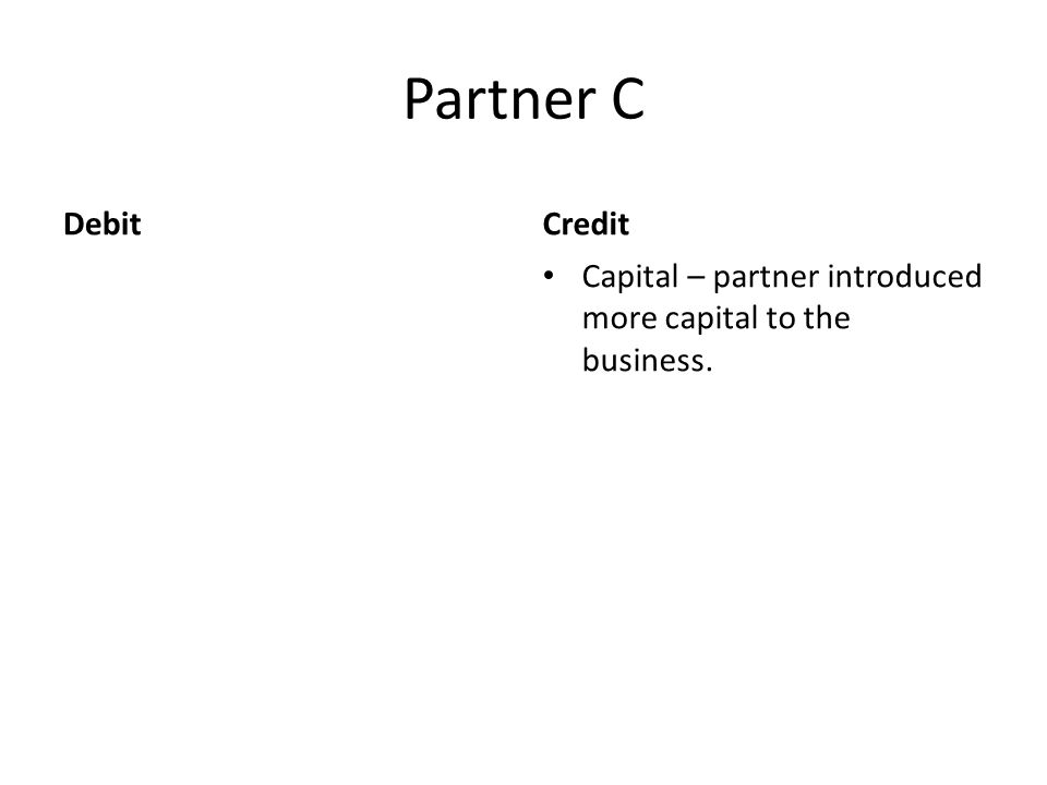 Partner C DebitCredit Capital – partner introduced more capital to the business.