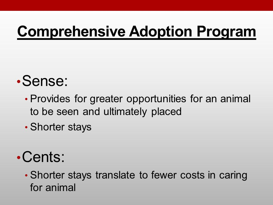 Comprehensive Adoption Program Sense: Provides for greater opportunities for an animal to be seen and ultimately placed Shorter stays Cents: Shorter stays translate to fewer costs in caring for animal