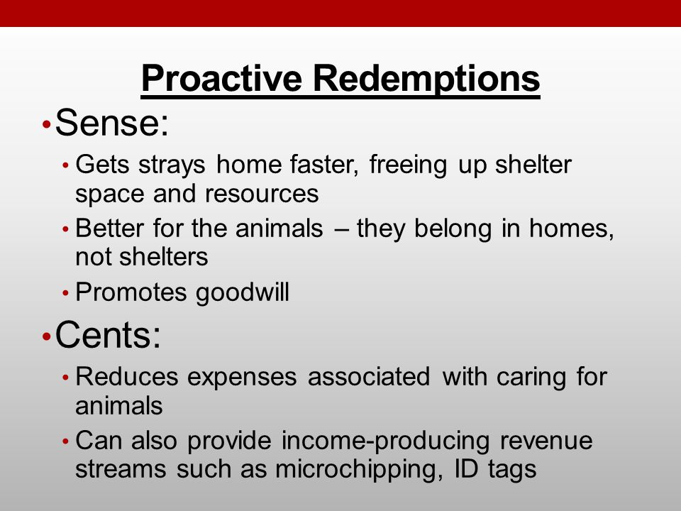 Proactive Redemptions Sense: Gets strays home faster, freeing up shelter space and resources Better for the animals – they belong in homes, not shelte