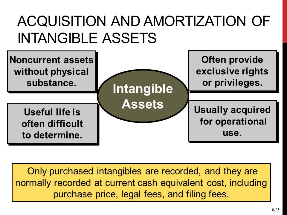 ACQUISITION AND AMORTIZATION OF INTANGIBLE ASSETS Noncurrent assets without physical substance.