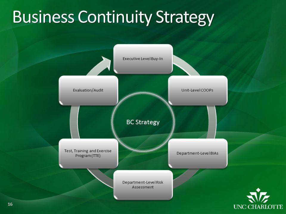Business Continuity Strategy Executive Level Buy-InUnit-Level COOPsDepartment-Level BIAs Department-Level Risk Assessment Test, Training and Exercise Program (TTE) Evaluation/Audit BC Strategy 16