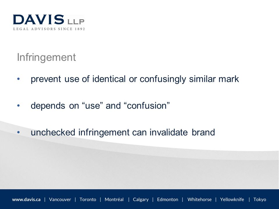 """Infringement prevent use of identical or confusingly similar mark depends on """"use"""" and """"confusion"""" unchecked infringement can invalidate brand"""