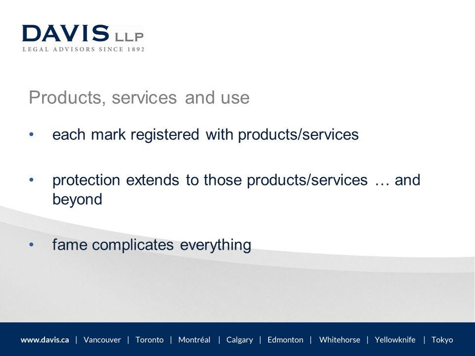 Products, services and use each mark registered with products/services protection extends to those products/services … and beyond fame complicates eve