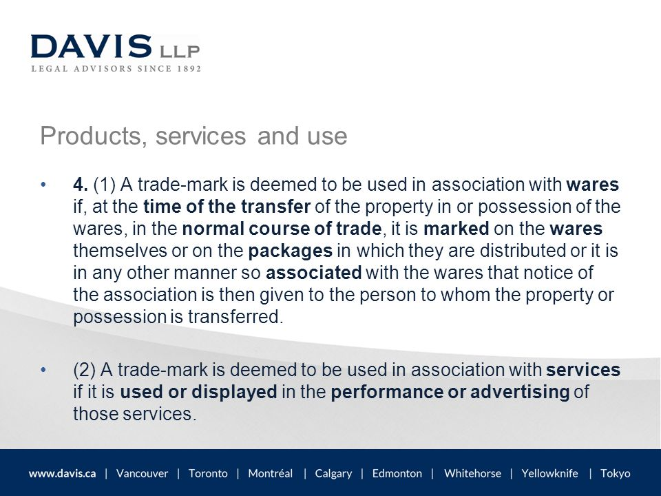 Infringement unauthorized use → consumer confusion and unfair competition free-riding on someone else's reputation dilute the strength and value of the mark and its reputation ( depreciation of goodwill in Canada)