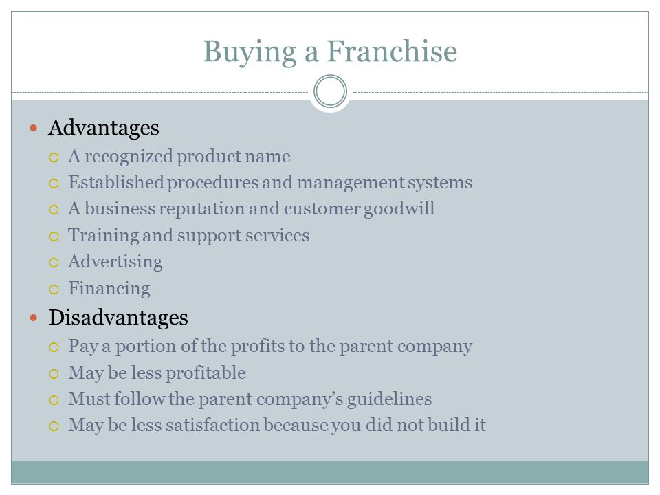 Buying a Franchise Advantages  A recognized product name  Established procedures and management systems  A business reputation and customer goodwil