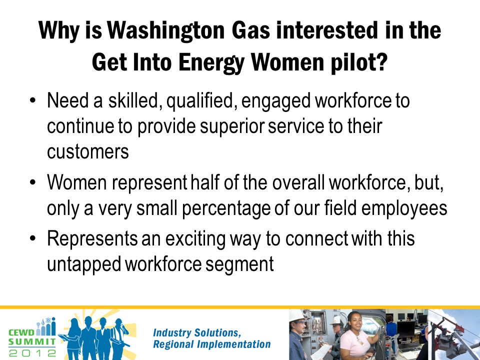 Why is Washington Gas interested in the Get Into Energy Women pilot.