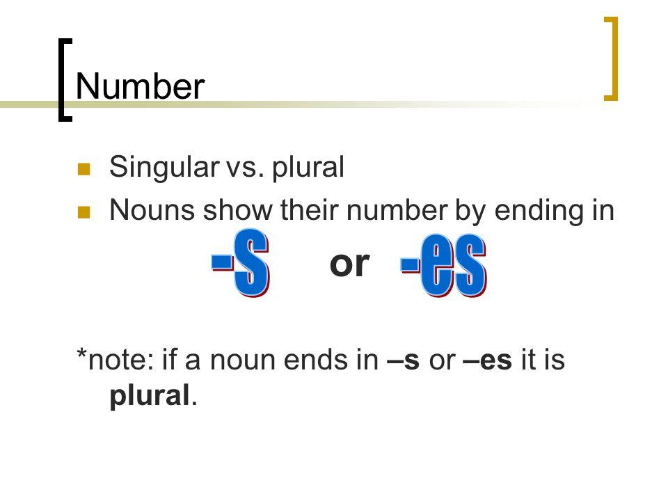 Number Singular vs.