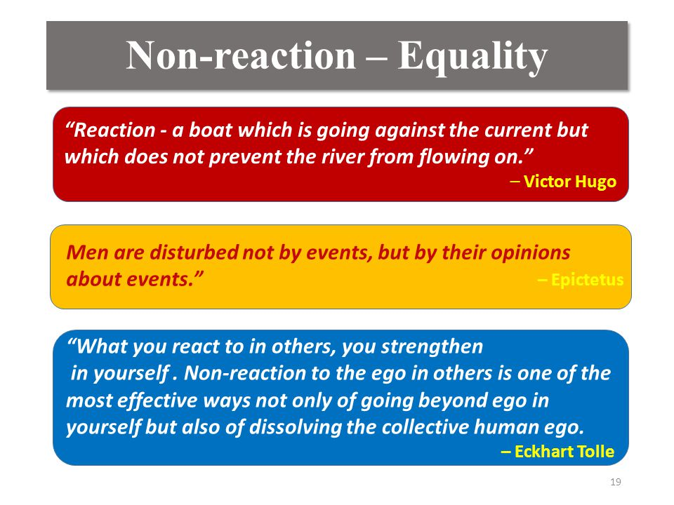"Non-reaction – Equality 19 ""Reaction - a boat which is going against the current but which does not prevent the river from flowing on."" – Victor Hugo"