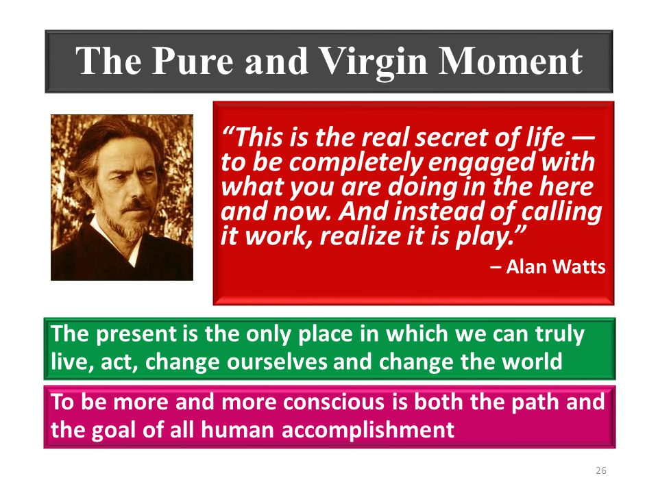 The Pure and Virgin Moment This is the real secret of life ― to be completely engaged with what you are doing in the here and now.