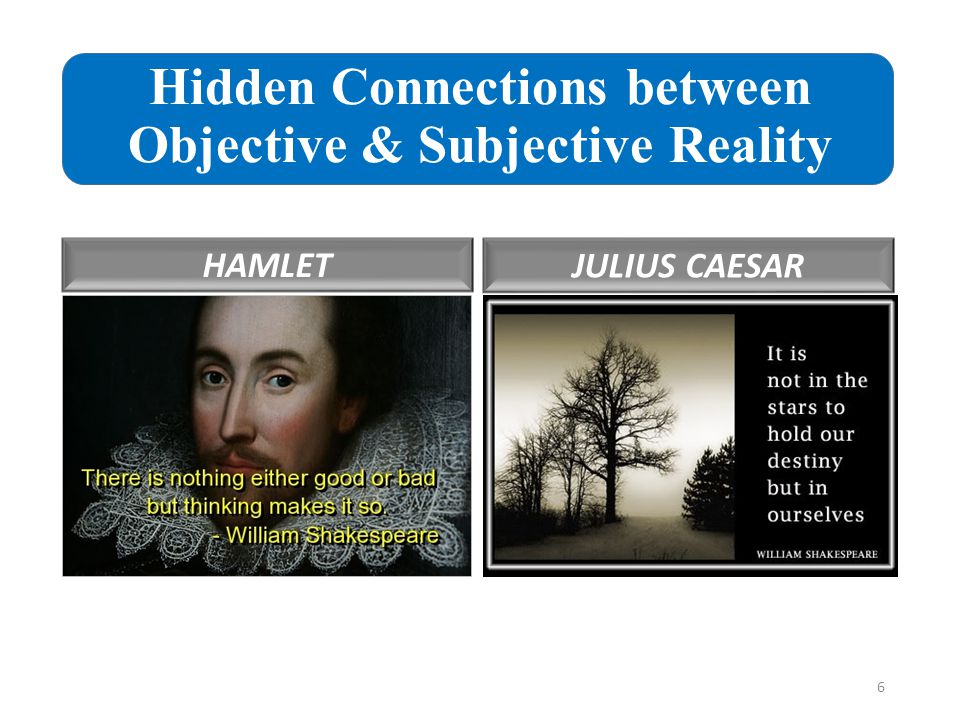Hidden Connections between Objective & Subjective Reality HAMLET JULIUS CAESAR 6
