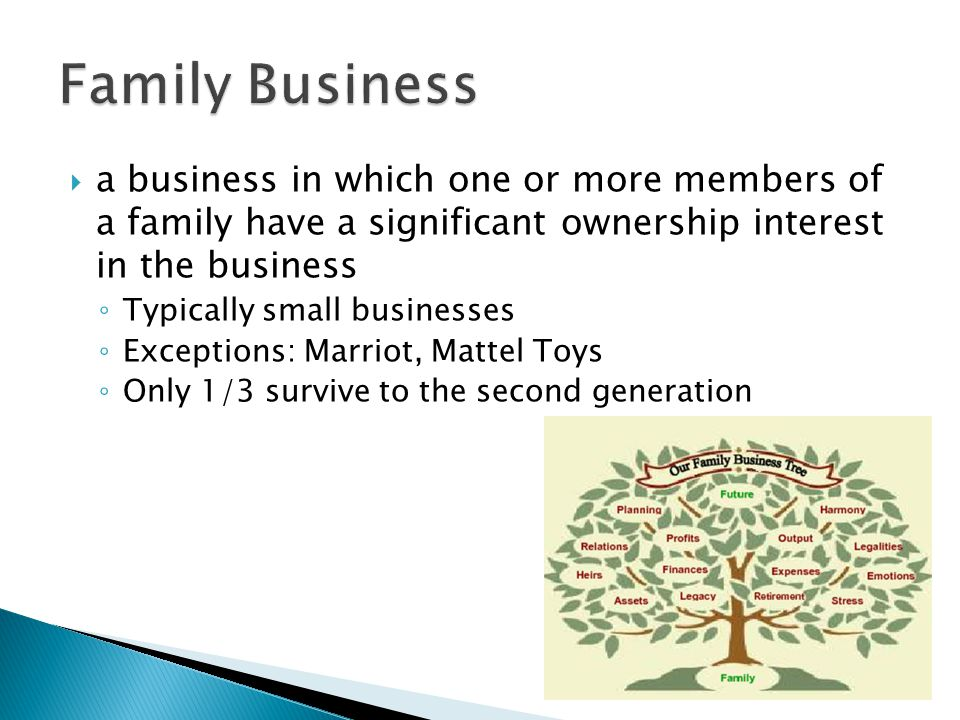  a business in which one or more members of a family have a significant ownership interest in the business ◦ Typically small businesses ◦ Exceptions: Marriot, Mattel Toys ◦ Only 1/3 survive to the second generation