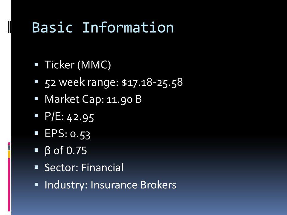 Basic Information  Ticker (MMC)  52 week range: $17.18-25.58  Market Cap: 11.90 B  P/E: 42.95  EPS: 0.53  β of 0.75  Sector: Financial  Industry: Insurance Brokers