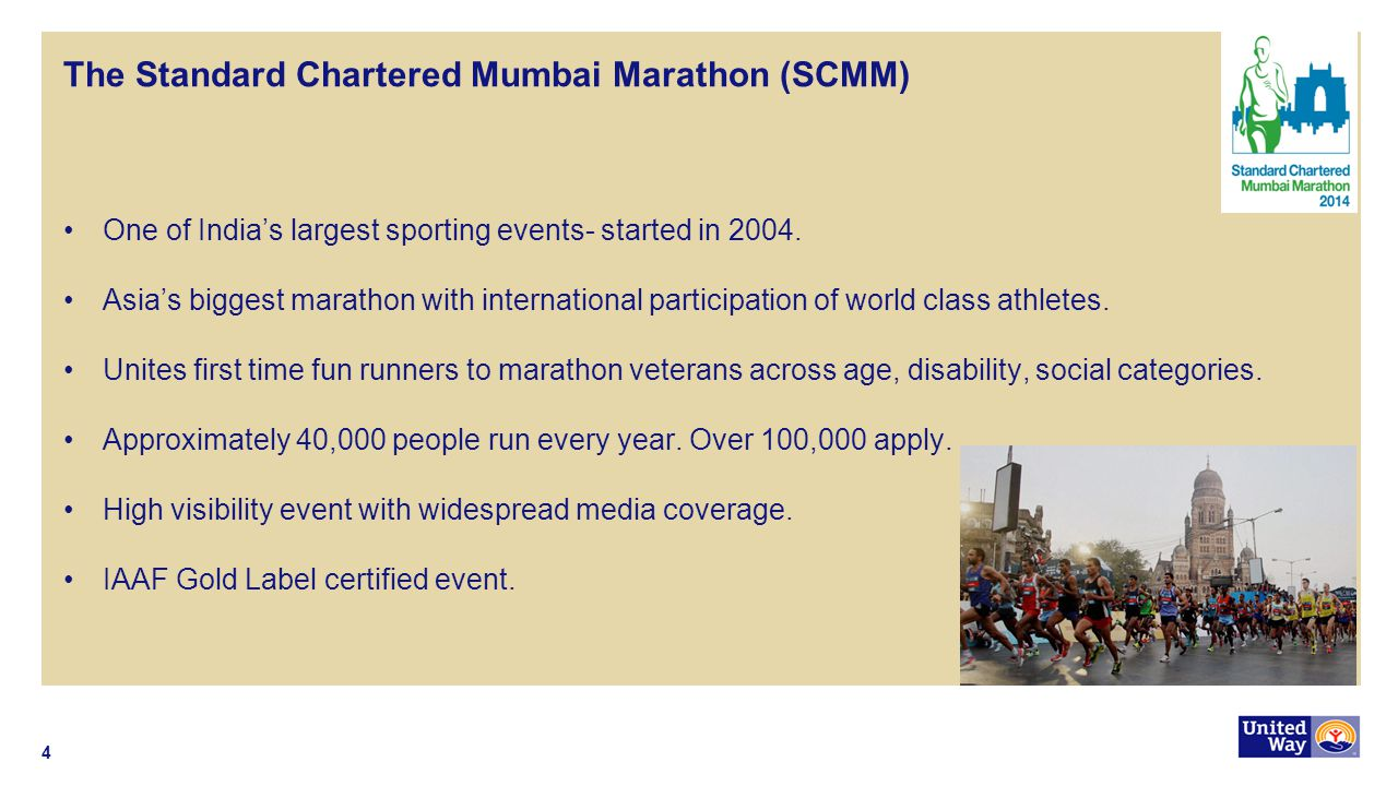 The Standard Chartered Mumbai Marathon (SCMM) One of India's largest sporting events- started in 2004. Asia's biggest marathon with international part