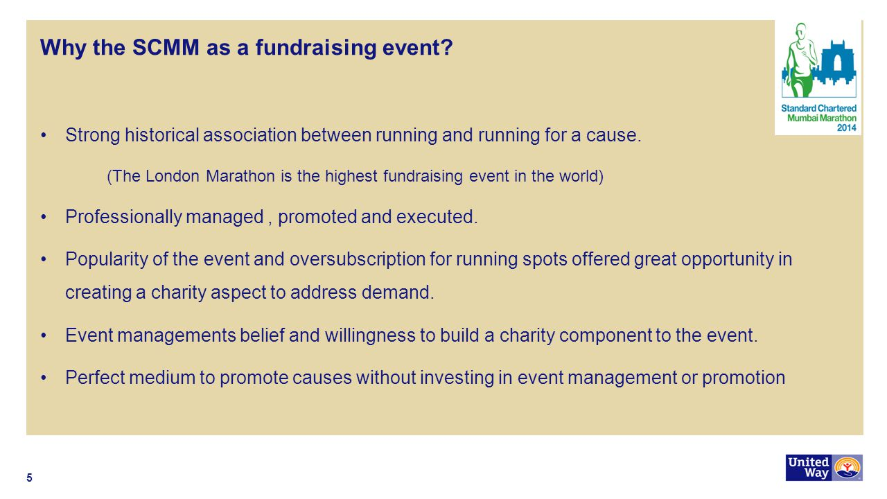 Why the SCMM as a fundraising event? Strong historical association between running and running for a cause. (The London Marathon is the highest fundra
