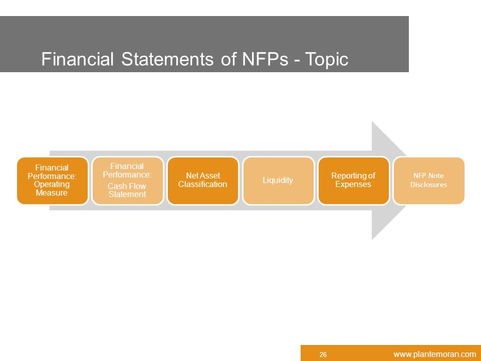 www.plantemoran.com Financial Statements of NFPs - Topic Financial Performance: Operating Measure Financial Performance: Cash Flow Statement Net Asset Classification Liquidity Reporting of Expenses NFP Note Disclosures 26