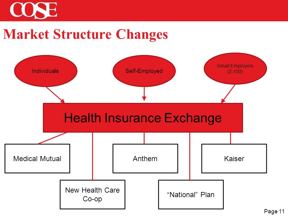 Page 11 Market Structure Changes Health Insurance Exchange IndividualsSelf-Employed Small Employers (2-100) Medical MutualAnthemKaiser New Health Care